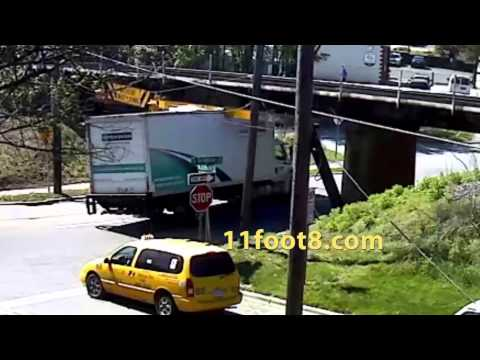 Truck turns right and slams into the 11foot8 bridge