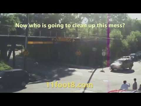 Rental truck hits the bridge and everyone helps clean up