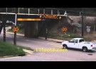 Truck driver makes a bad move at the 11foot8 bridge
