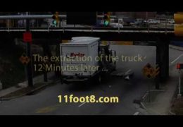 Box of rental truck is destroyed by the 11foot8 bridge