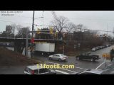 Boxtruck gets jammed under the 11foot8 bridge