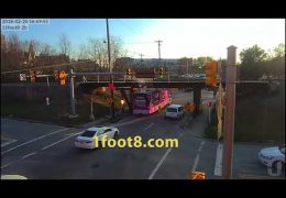 Mobile health RV gets stuck under the 11foot8 bridge