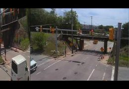 Bucket truck gets chewed up at the 11foot8 bridge