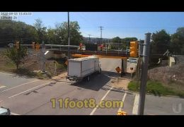 Reefer truck breaks the spell at the 11foot8+8 bridge