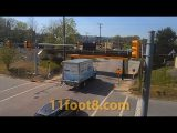 Reefer truck makes a mess at the 11foot8+8 bridge