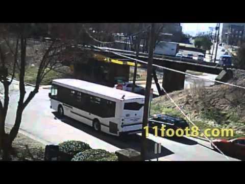 Dumpster hits crashbeam at the 11foot8 bridge