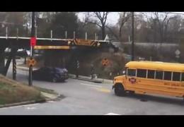 Rental truck sliced open in crash 100 at the 11foot8 bridge