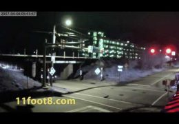 Car crash at the 11foot8 bridge takes out fire hydrant