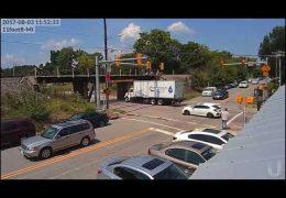Box truck tries to sneak under the 11foot8 bridge