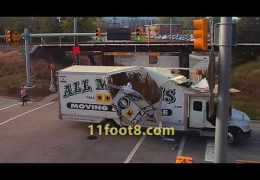 Moving truck obliterated by the 11foot8 bridge