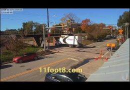 Boxtruck crashes at 11foot8 and then hits another low bridge