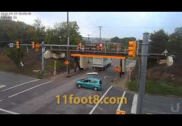 HVAC truck comes in hot and gets stopped cold at the 11foot8+8 bridge